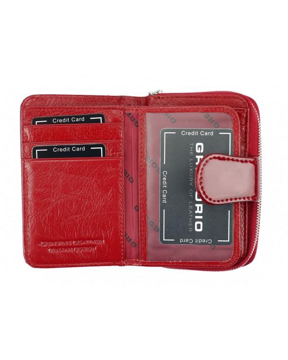 miejsce na karty Skórzany portfel damski z zapinką czerwony