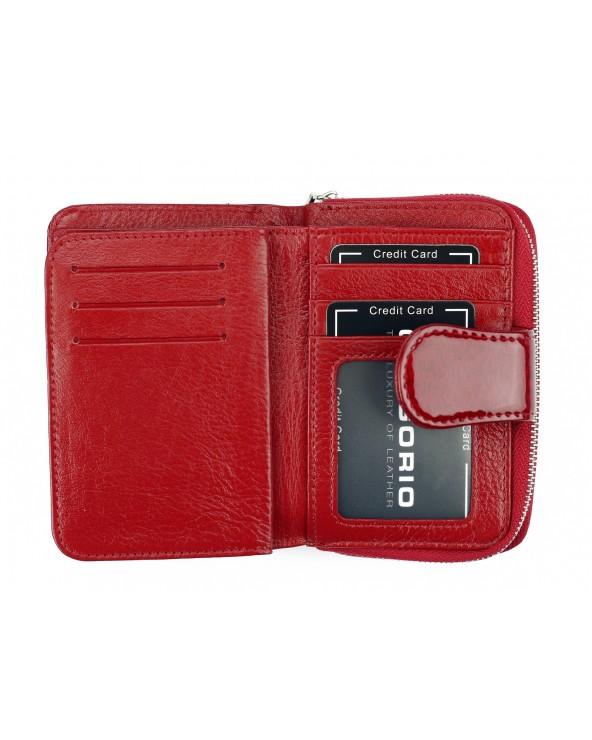 wnętrze Skórzany portfel damski z zapinką czerwony