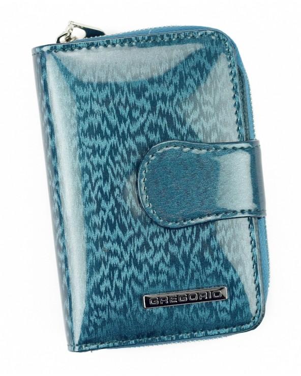 Skórzany portfel damski z zapinką Gregorio niebieski