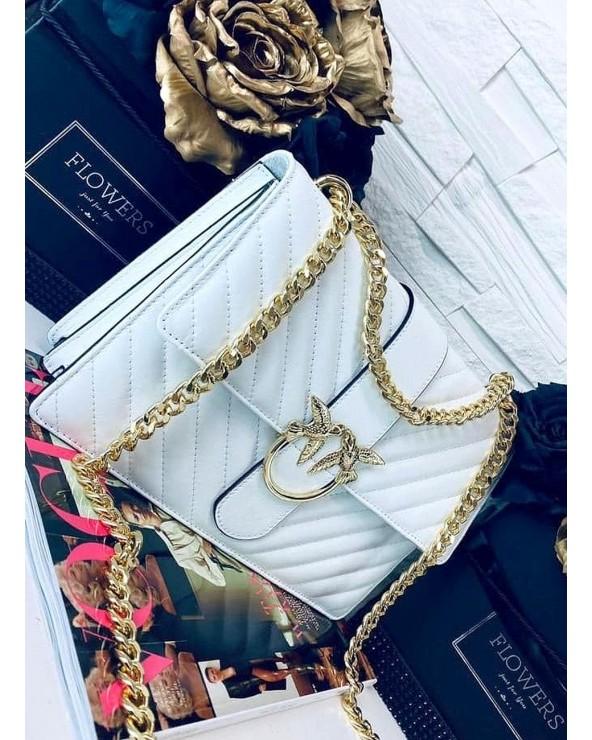 Pikowana skórzana torebka Swallow biała ze złotymi okuciami
