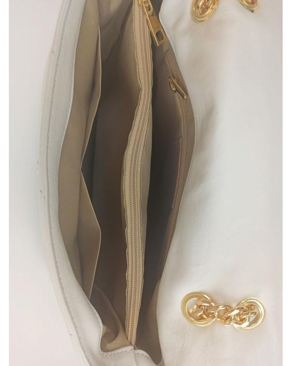 wnetrze Pikowana torebka Big Puff czarna złote biała