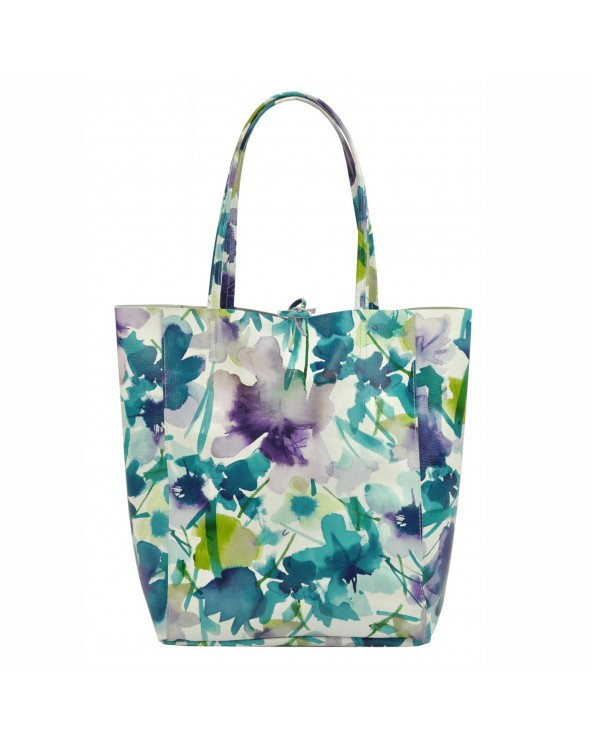 Torebka shopper worek vera pelle kwiaty zielono-niebieskie