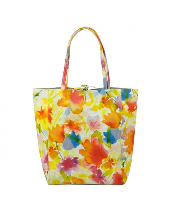 Torebka shopper worek vera pelle żółte kwiaty