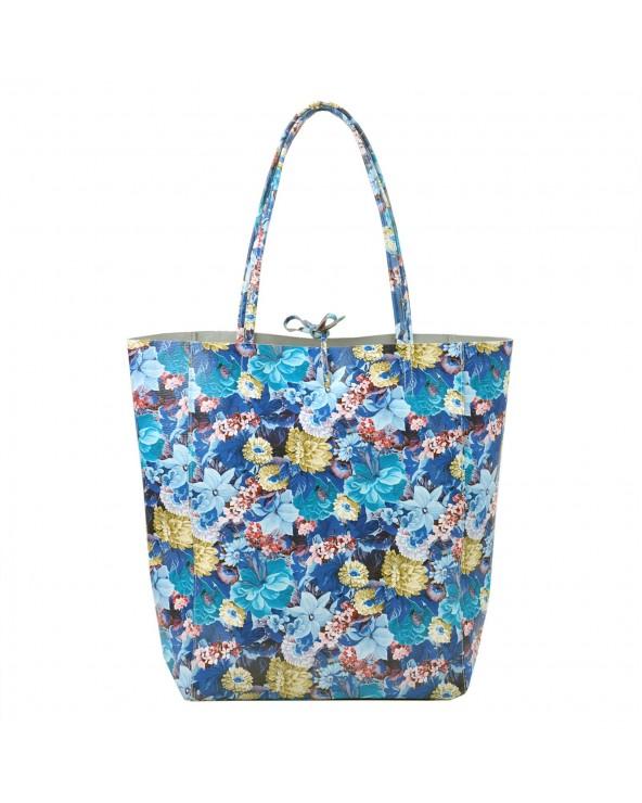 Torebka shopper worek vera pelle kwiaty niebieska
