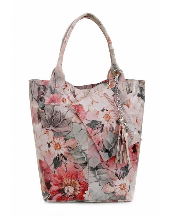 Torebka shopper kwiaty beżowo-różowo-zielone