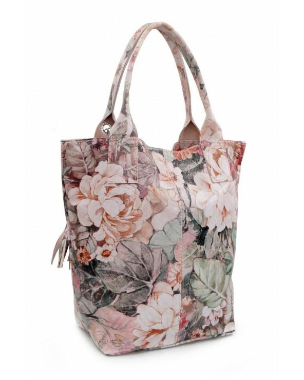 skórzana Torebka shopper kwiaty beżowo-różowo-zielone