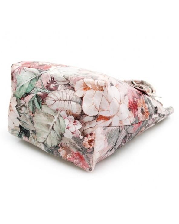 spód Torebka shopper kwiaty beżowo-różowo-zielone