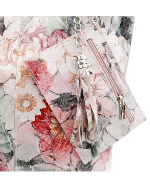 portfelik Torebka shopper kwiaty beżowo-różowo-zielone