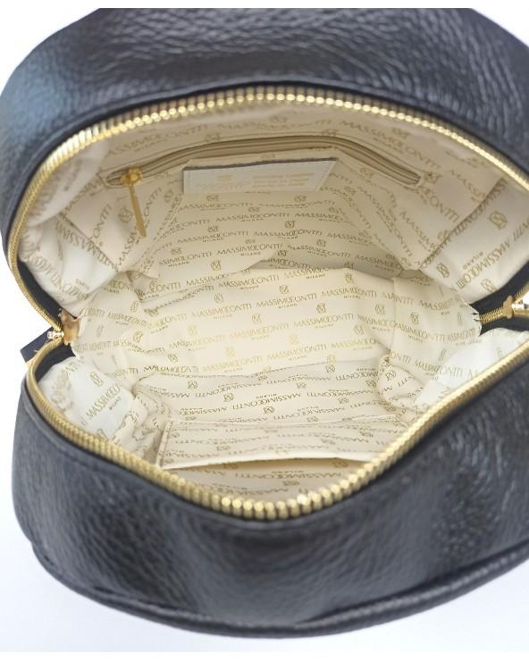 wnętrze Plecak damski Massimo Contti ze skóry naturalnej czarny