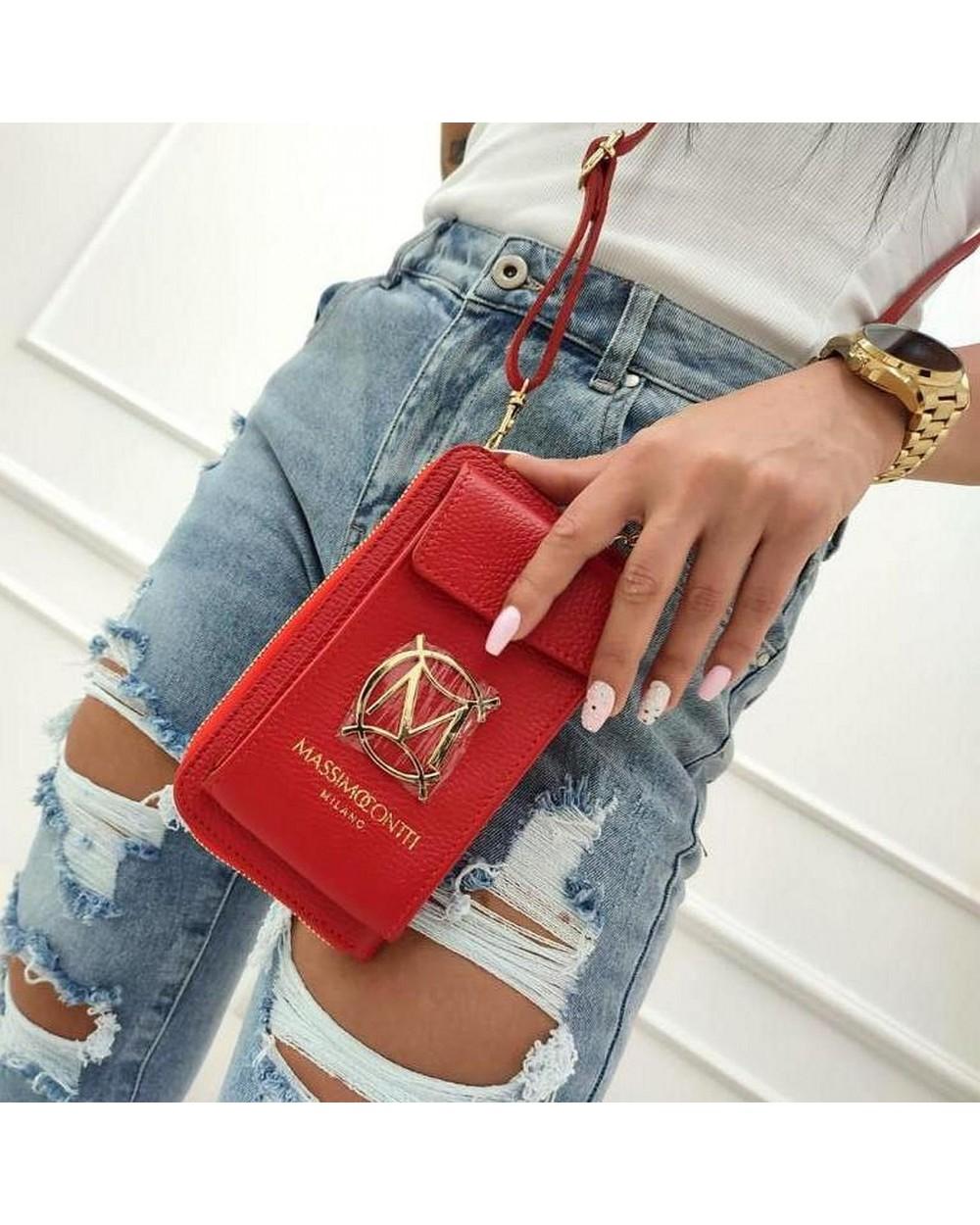 Skórzany portfel etui na telefon 2 w 1 Massimo Contti czerwony