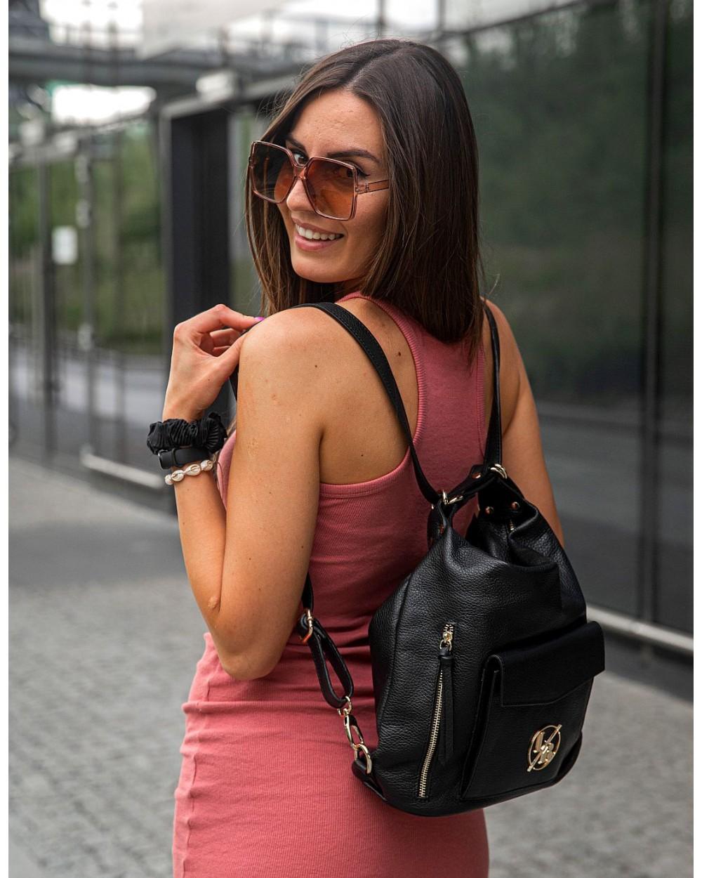 Laura Biaggi skórzana torebka worek plecak 2 w 1 czarny