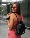 Laura Biaggi skórzana torebka worek plecak 2 w 1 czarna