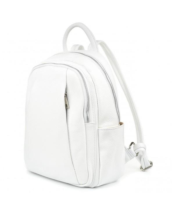 Plecak damski z kieszeniami suwakami skórzany biały