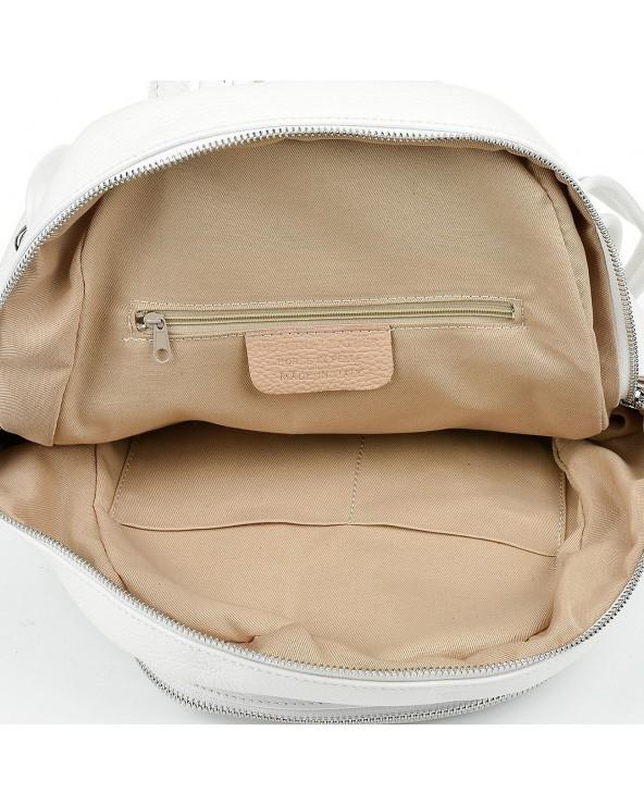 wnętrze Plecak damski z suwakami skórzany biały