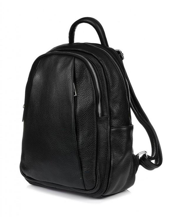 Plecak damski z kieszeniami skórzany czarny