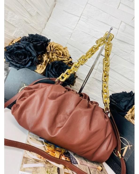 Skórzana torebka a'la Bottega Veneta łańcuch