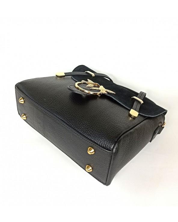 metalowe nózki spód Skórzana torebka listonoszka kuferek Swallow czarna