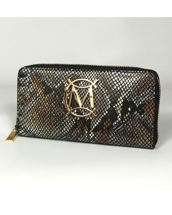 Massimo Contti damski portfel skórzany piórnik snake