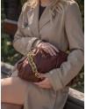 Skórzana torebka a'la Bottega Veneta łańcuch brązowa