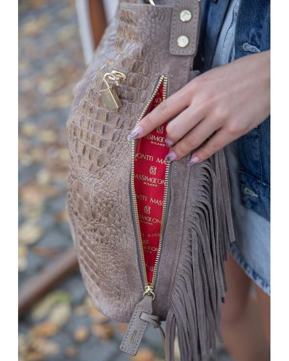 logowana podszewka Massimo Contti torebka worek croco XL z frędzlami taupe