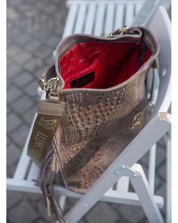 czerwona podszewka Massimo Contti torebka worek croco XL z frędzlami taupe
