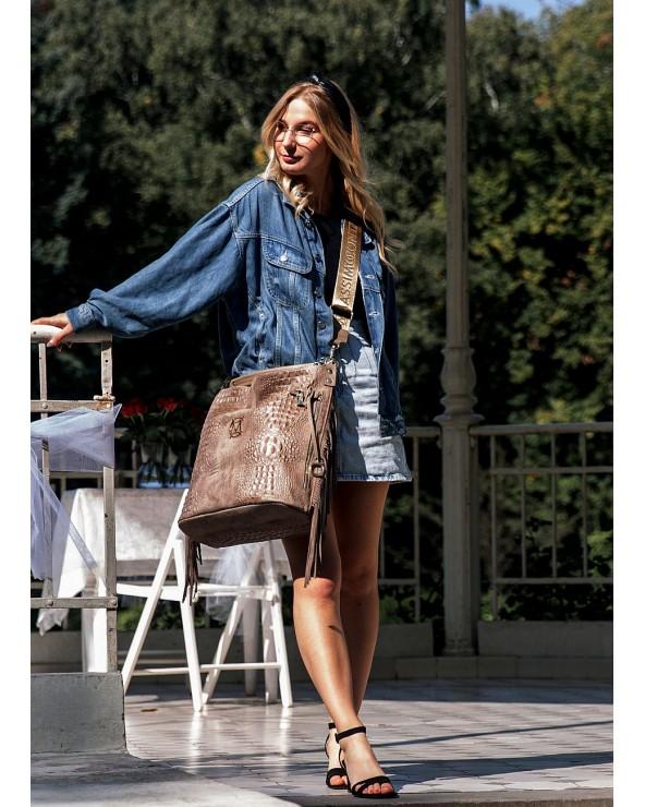 torba Massimo Contti worek croco XL z frędzlami taupe