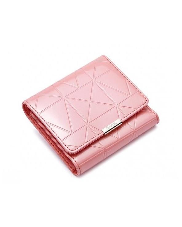 Unikatowy portfel z lakierowanej skóry w geometryczny wzór