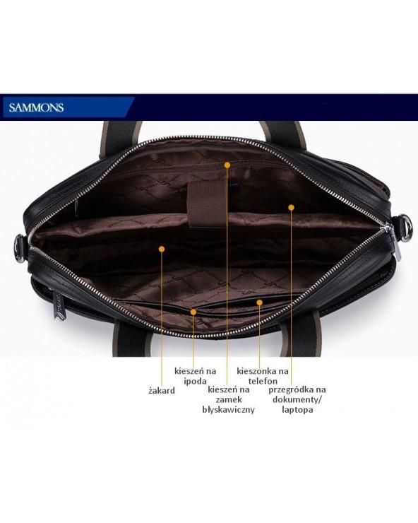 SAMMONS Solidna męska torba na ramię z naturalnej skóry
