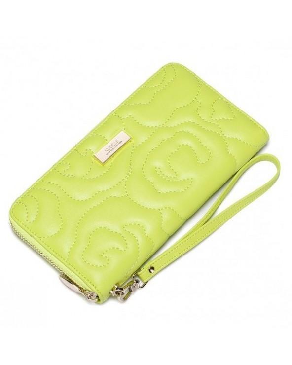 Klasyczny damski portfel pikowana kopertówka żółty