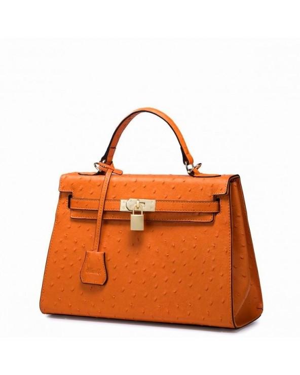 Kolorowa skórzana torebka pomarańczowy