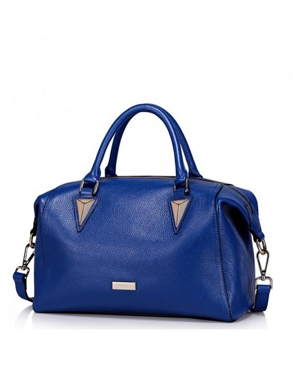 NUCELLE Wysokiej jakości skórzana damska torebka niebieska