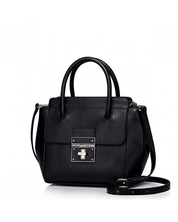 Skórzana damska torebka tote Czarna