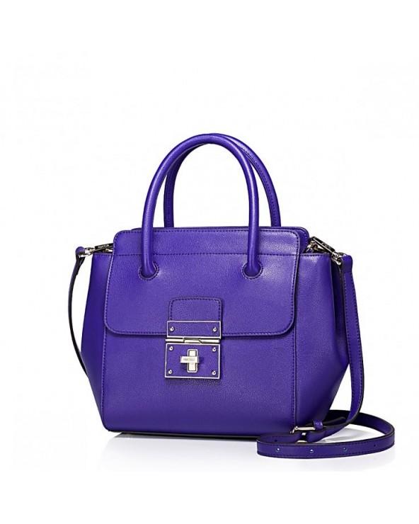 Skórzana damska torebka tote Purpurowa