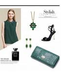 Długi damski portfel ze skóry Zielony