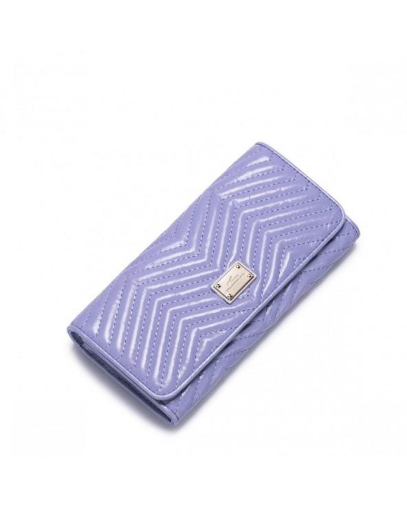 Długi damski portfel ze skóry Purpurowy
