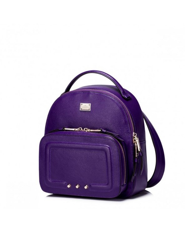 Subtelny damski plecak z ćwiekami Purpurowy