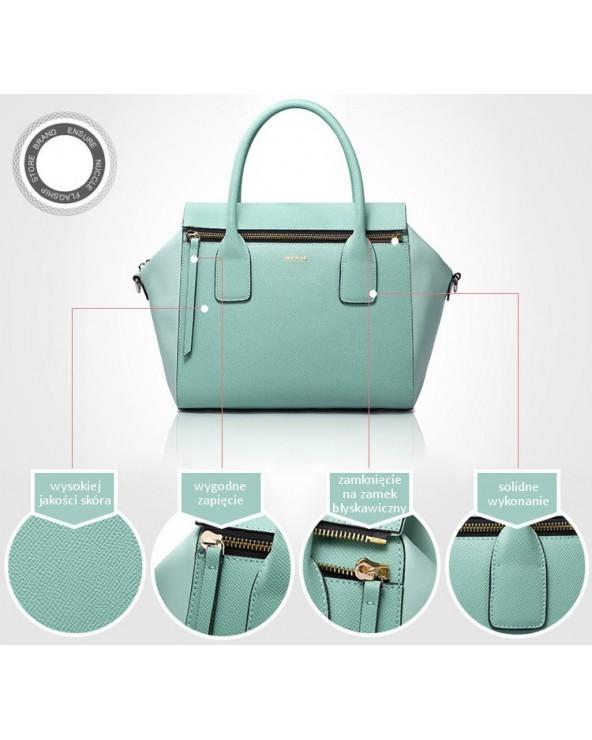 Modna geometryczna torebka skórzana niebieska