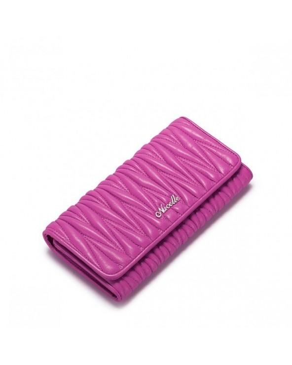 NUCELLE Damski portfel z owczej skóry Różowy