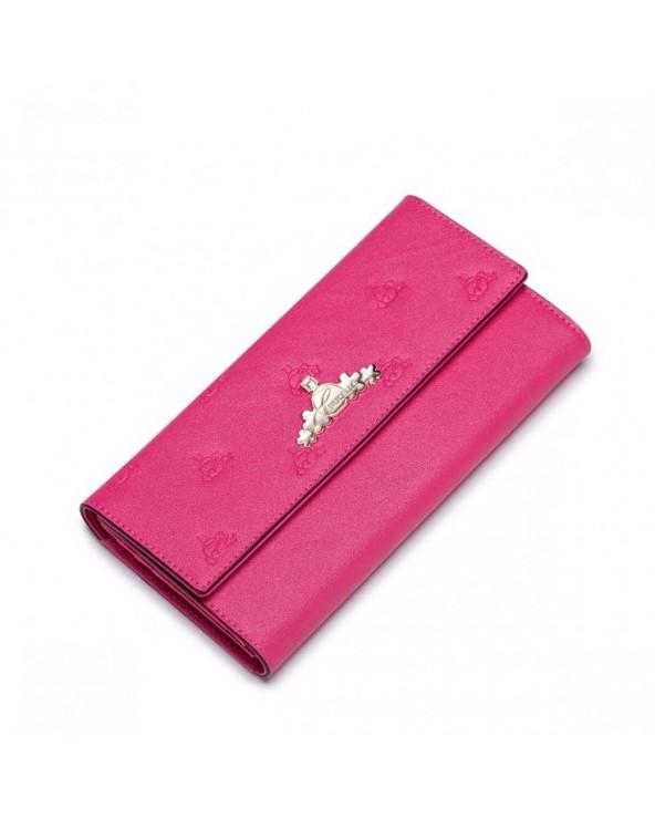 Stylowy długi damski portfel Ciemny Róż