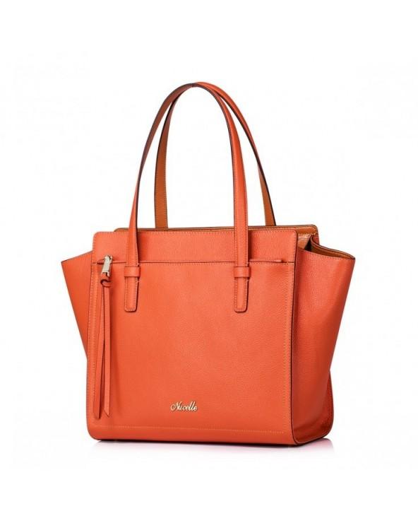 Pojemna damska torebka z naturalnej skóry Pomarańczowa