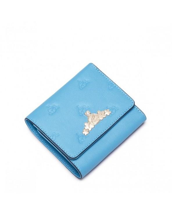 Stylowy krótki damski portfel Niebieski