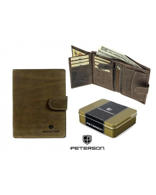 PETERSON męski portfel skórzany zapinany vintage