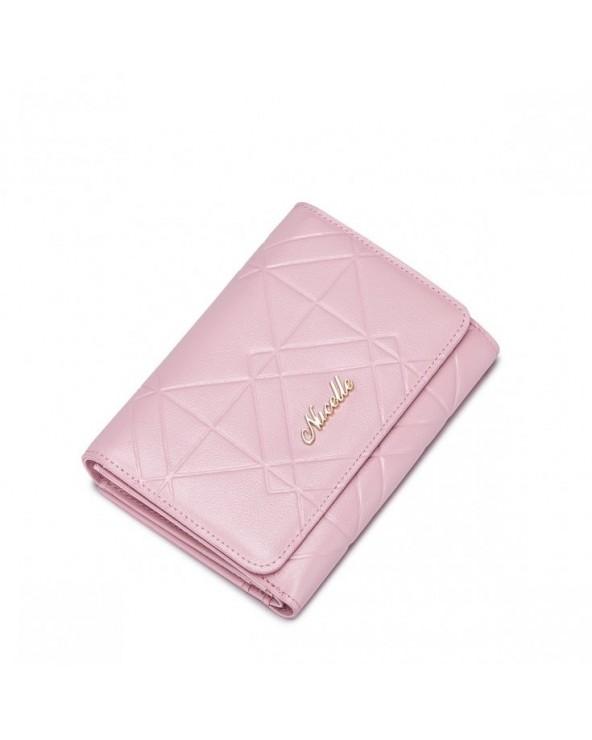 Krótki i modny damski portfel Różowy