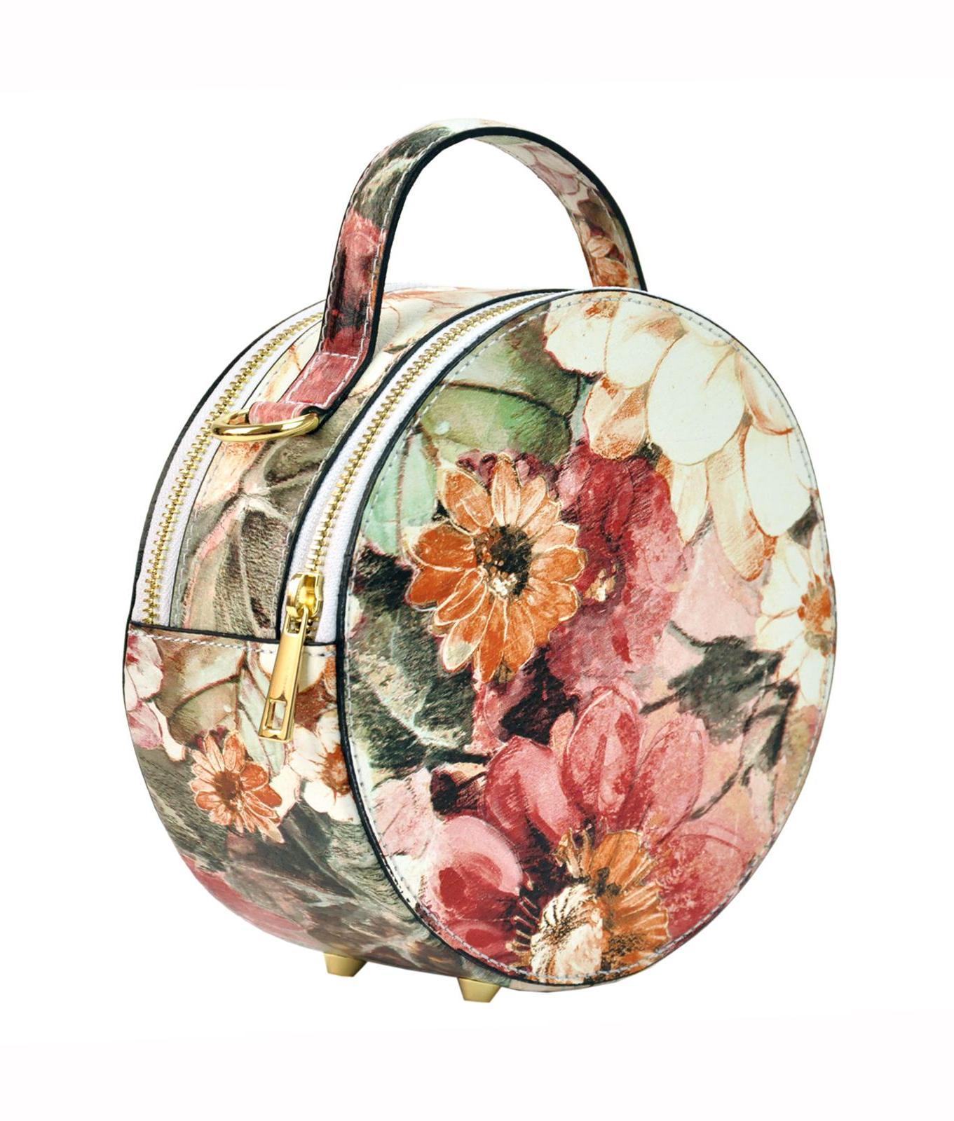 Mała Okrągła torebka z kwiatami w kwiatowy wzór