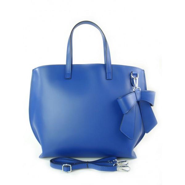 Skórzana torebka kuferek z kokardą nibieska kobaltowa