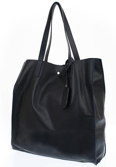Duża torebka z miękkiej skóry naturalnej czarna shopper