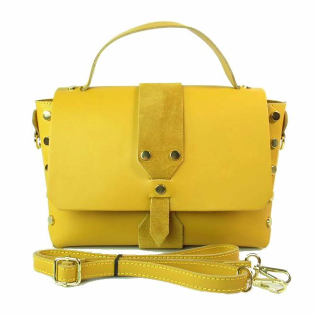 Żółta skórzana torebka z nitami a'la Balenciaga